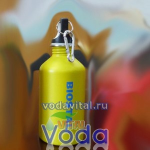 Бутылка для хранения воды из нержавеющей стали  biostal 0.5 литра с карабином для ношения